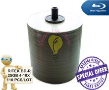 RITEK BDR 25GB 4-10X - 110 PCS/Lot - White Inkjet Printable / blu ray disc / bluray disc / blue ray / blu-ray / BDR(China (Mainland))