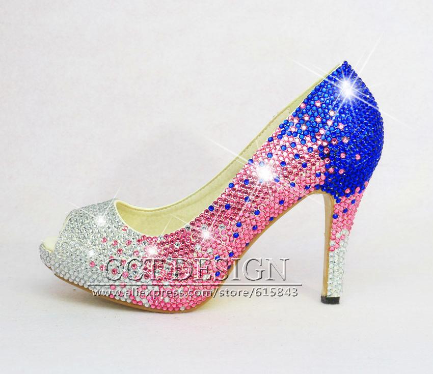 gradual color change silver pink blue wedding high