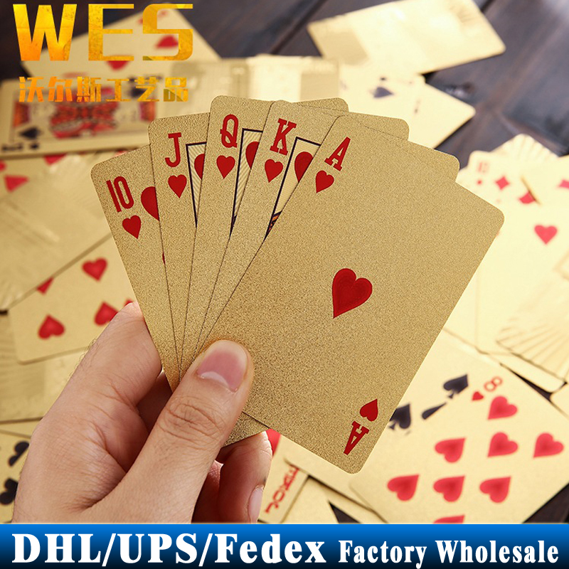 DHL Fedex UPS 50Sets 24K Gold Foil Poker Set Euro 100 Style Plastic Casino Playing Cards Pokerstars Card Game(China (Mainland))
