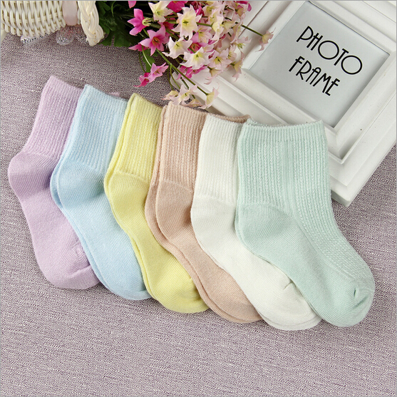 Free shipping 12 pieces lot 6pair 100 cotton Baby socks newborn floor socks Double needle socks