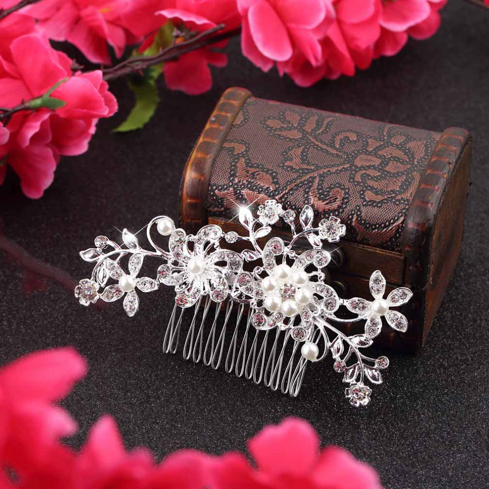1pc Floral Wedding Tiara Sparkling silver plated Crystal simulated pearl Bridal Hair Combs Hairpin Jewelry Hair