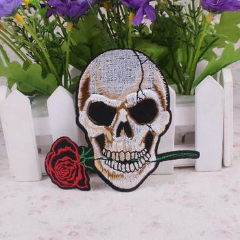 Punk Biker Embroidery Patch Skull Rose Iron On Patches DIY Badge Garment Accessory