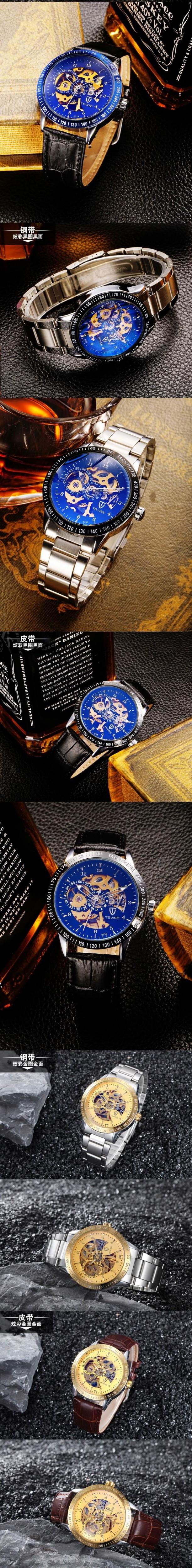 Новый Полые Мужские Часы Лучший Бренд Класса Люкс Кожаный Ремешок Часы Бизнес Повседневная Мужчины Механические Часы Полный Стали Мужчины Наручные Часы