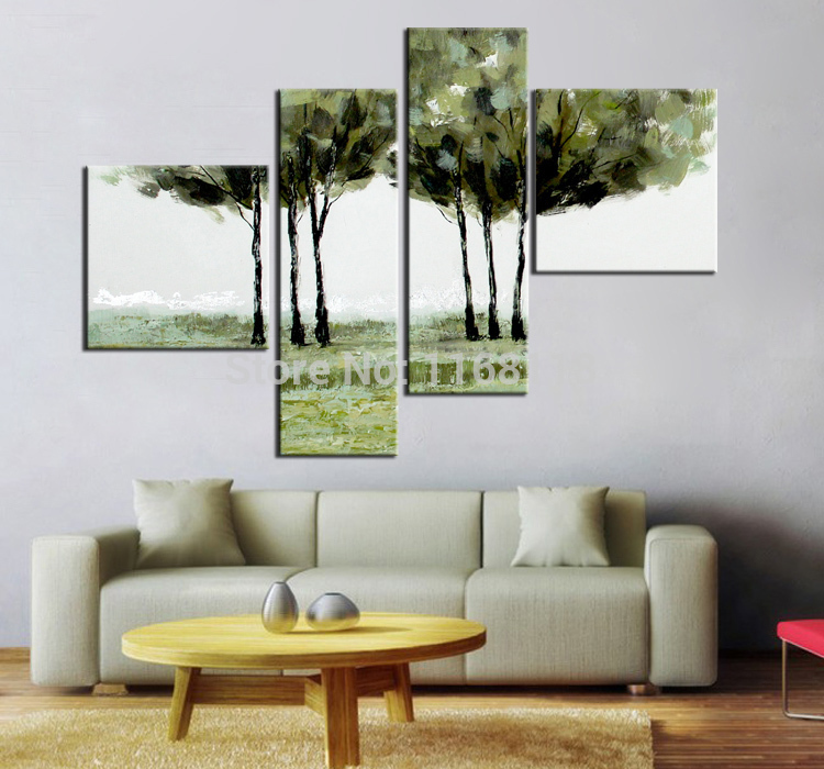 4 panel wall decor art set Abstract big trees in lawn beautiful landscape hand painted Oil knife Painting on Canvas(China (Mainland))