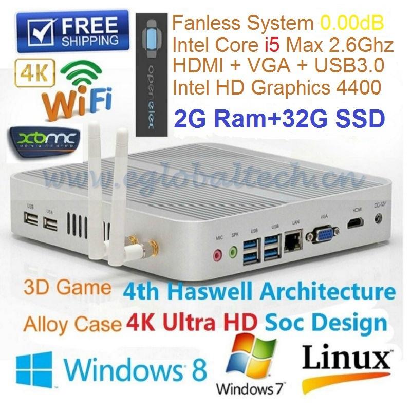 Fanless MINI PC I5 4200U HD4400 MINI ITX Computer HDMI VGA 2GB RAM 32GB SSD 3yearWarranty Network Computer Thin Client PC Games(China (Mainland))