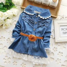 2015 Infant In the spring Blue Demin dressess Bebe Lace dress with belt.0-3Y, Baby girls Jeans Dress free shipping(China (Mainland))