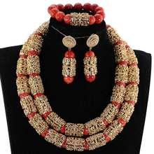 יוקרה דובאי זהב מודגש הצהרת שרשרת תכשיטי סט אדום אפריקאי חרוזים חתונה ניגרית תלבושות תכשיטי סט WE182(China)