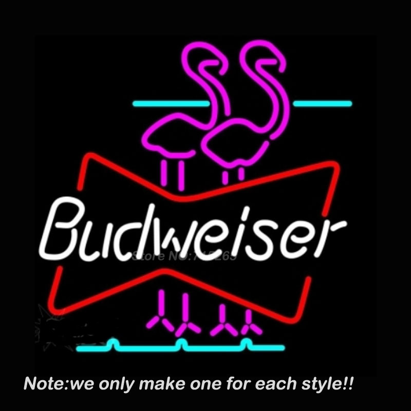 Budweiser Flamingo Neon Sign Art Design Glass Tube Business Pub Handcraft Neon Bulbs Store Display Decorate Great Gifts 17x14(China (Mainland))