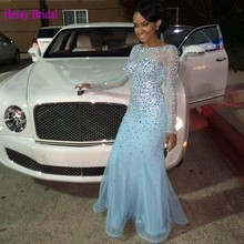 2015 Long Fitted Mermaid Female Evening Dress Womens Prom Crystal Dress Sparkly Formal Dresses Long Sleeve Backless Beaded Gown(China (Mainland))