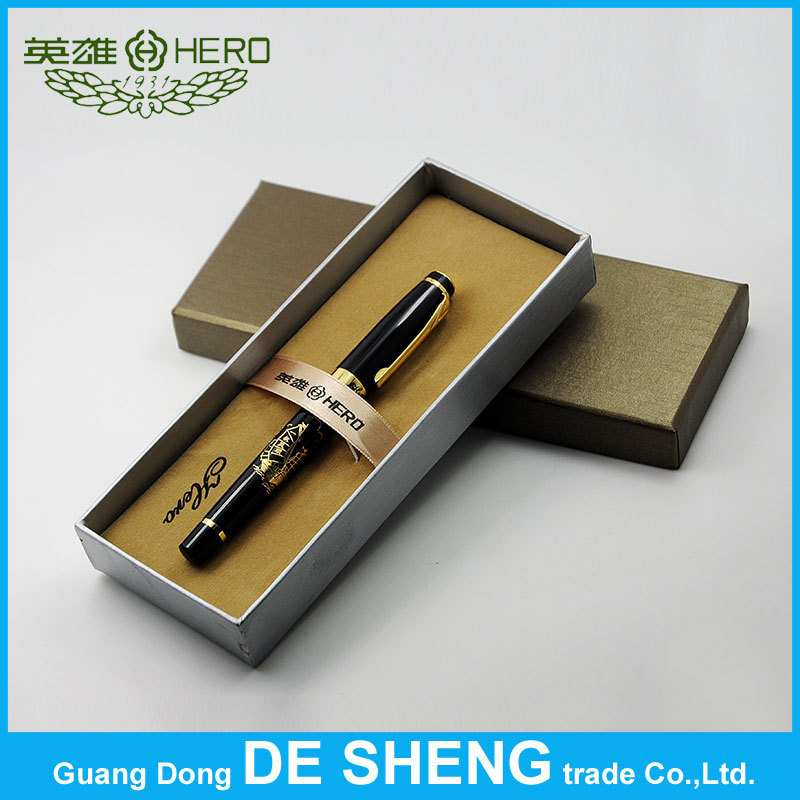 Original! Hero black 6062-2 Gold Sailboat, 0.7mm Gold big Nib Financial office fountain pen + Gift box - can use the ink sac(China (Mainland))
