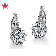 GALAXY New Fashion Hearts and Arrows 2ct 9mm CZ Diamond Drop Earrings For Women White Gold Plated Zircon Dangle Earring YE005(China (Mainland))