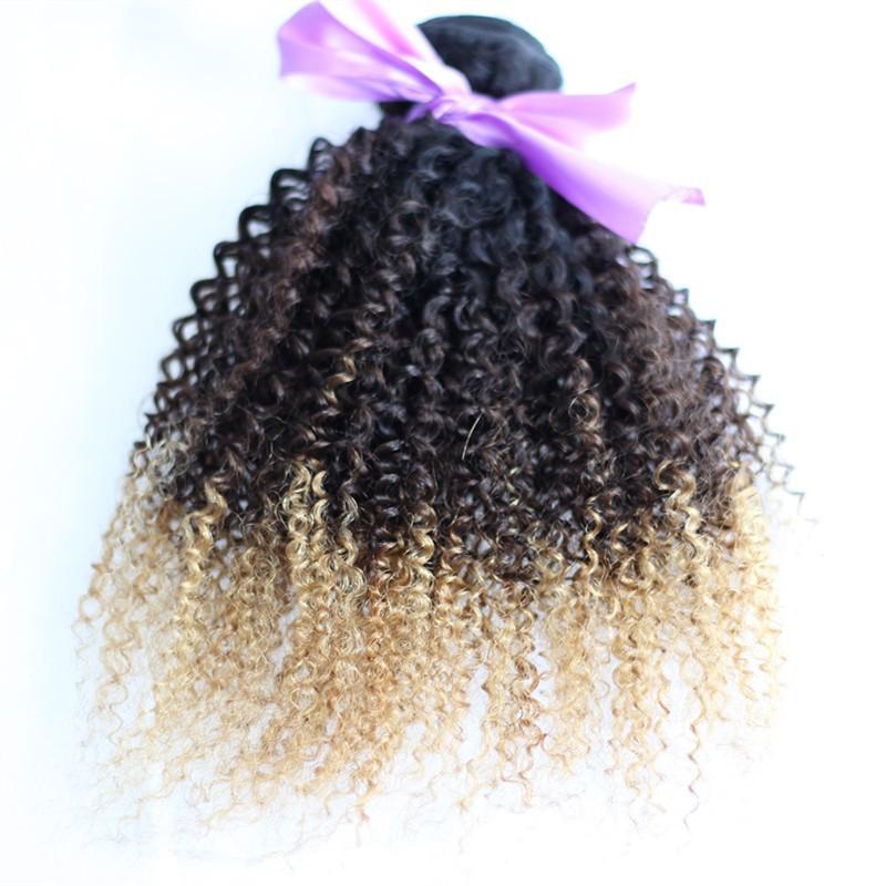10A Ombre Brazilian Virgin Hair Kinky Curly 4Pcs Ombre Hair Extensions T1b/4/27 Brazilian Hair Weave Bundles Rosa Hair Products