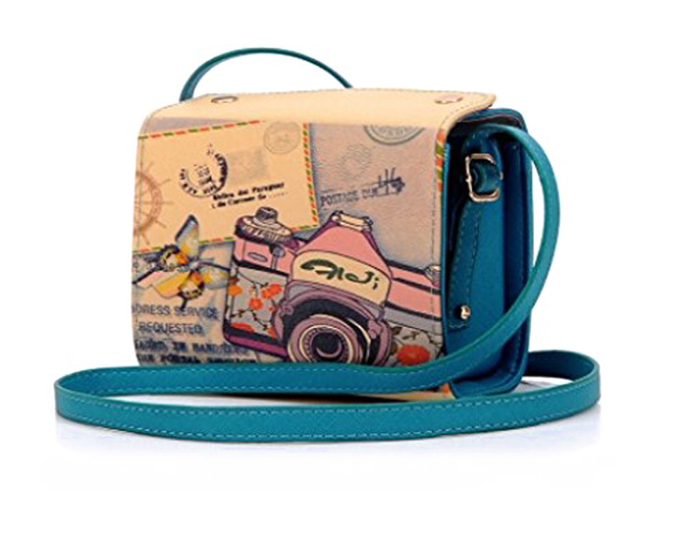 Retro PU Leather color blue women's shoulder Camera bag for Fujifilm Instax Mini 25,mini50s Mini 8 Case bag(China (Mainland))
