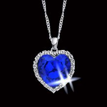 Buy Romantic Titanic Ocean Heart Pendant Necklaces Women Blue Crystal Rhinestone Choker Necklace Silver Plated Jewelry for $3.99 in AliExpress store