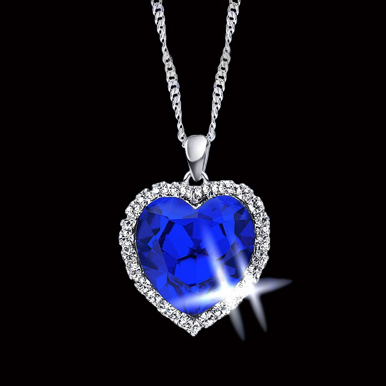 Romantic Titanic Ocean Heart Pendant Necklaces For Women Blue Crystal Rhinestone Choker Necklace Silver Plated Jewelry(China (Mainland))