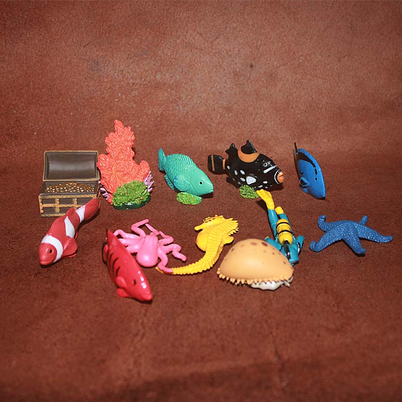 pvc figure ocean animal tropical fish submersible chest coral decoration toy gift 12pcs/set(China (Mainland))