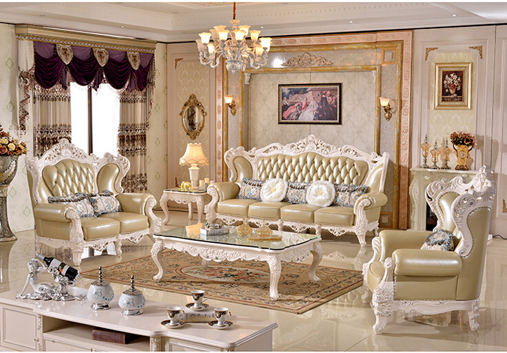 luxury wood funiture living room sofa set modern leather sofa foshan hh988 - Salon Moderne Deluxe
