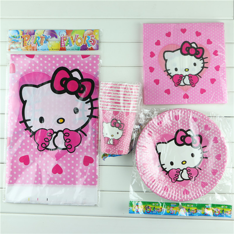 Hello kitty Birthday Party Decoration Paper Cup+Paper Plate+Paper Napkin+Table Cover for Kids Birthday Party Decoration Supplies(China (Mainland))