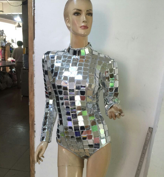 Sequin Mirror Light One-Piece Bodysuit Women Sexy Silver Female Singer DJ DS Dance Stage Costume Outfit Show Clothing Dress Wear