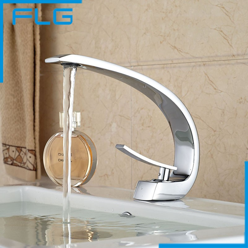 new design wave shape brass single lever bathroom touch basi