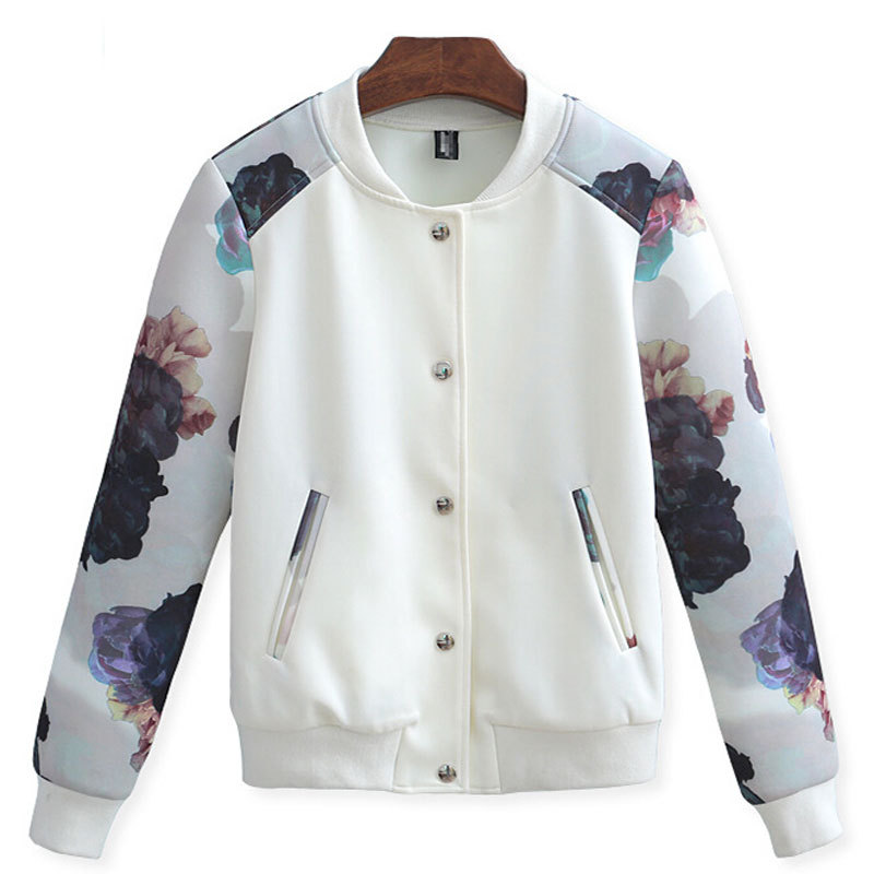 Brand New Autumn 2015 Jacket Women Bomber Jacket Standard Print Fashion Coat Slim Women Jacket High Quality Dressing White BlackОдежда и ак�е��уары<br><br><br>Aliexpress