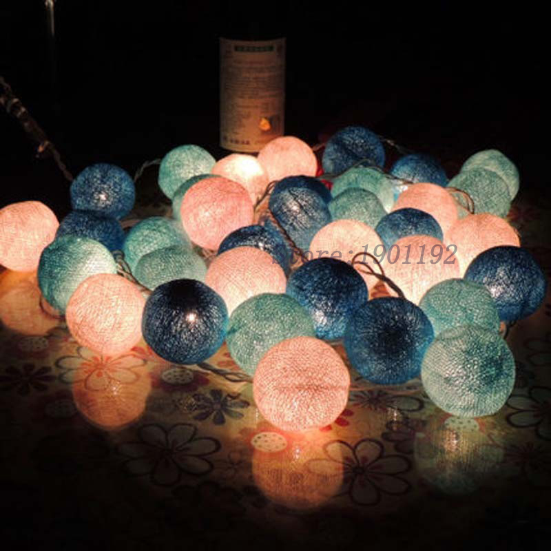 2m 20pcs Navidad Fabric COTTON BALL Christmas Lights Luminarias Garlands String Fairy Lights Wedding Party Decoration Lamp Bulb(China (Mainland))