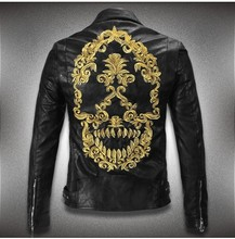 New Hot HOt New Warm Men's Leather Motorcycle Standing Collar Jackets Coat embroidery skulls free shipping (China (Mainland))