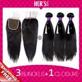 Peruvian Virgin Hair Straight 3 Bundles With Closure Peruvian Straight Virgin Hair Weft With Closure Peruvian