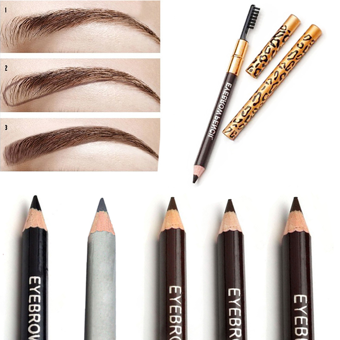 Hot New Women Waterproof Eyebrow Pencil With Brush Make Up Leopard maquiagem 5 Colors Shadow To Eyebrow Cheap Z1(China (Mainland))