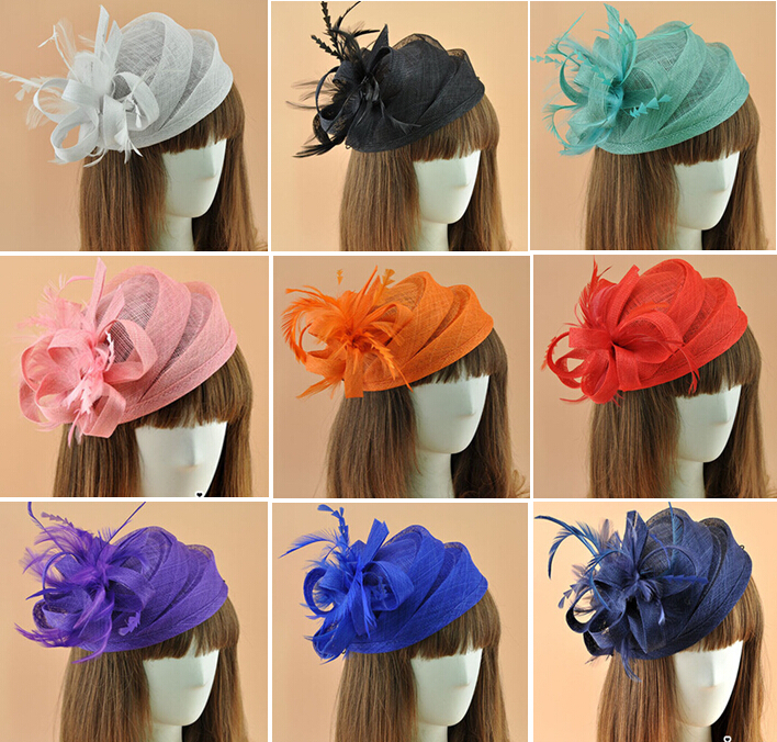 16 colors elegant Ladies roya fascinators,sinamay fascinator,women linen feather hat,wedding/party hair accessory,feather hat(China (Mainland))