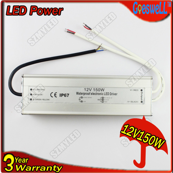 GOESWELL Free Shipping 150W IP67 DC12V/DC24V LED Driver Power Supply Waterproof IP67 LED Light Adapter Converter(China (Mainland))