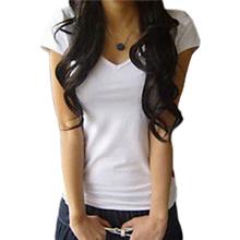 New Arrival 2015 Women's V-neck Short Sleeve Women's T-Shirt Cotton Large Size 8 Colors Slim lady T-shirt plus size B041(China (Mainland))
