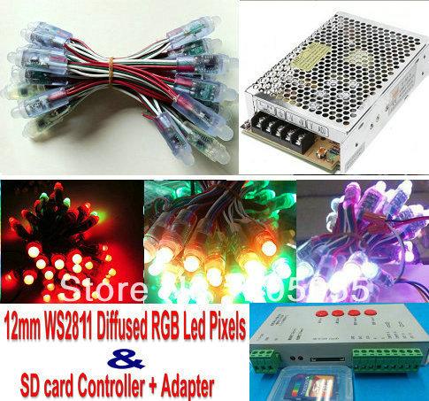 100Pcs 5V WS2811 pixel node 12mm full color Digital RGB addressable led punctiform waterproof+SD card controller+Adapter/power(China (Mainland))