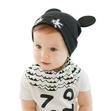 2017 new arrival baby skullies 1-24months baby beanies boy girl ears hat cute baby cap wholesale BH022 baby hats(China (Mainland))
