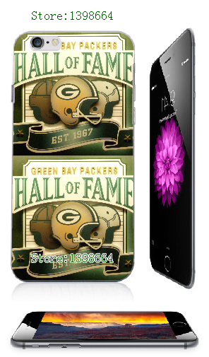 10 pcs Green Bay Packers team logo 2014 new arrival HOT selling white hard case cover for iphone 6 plus.(China (Mainland))