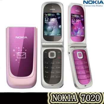 Original Unlocked Nokia 7020 gsm flip cell phone Bluetooth Fm 2MP camera MP4 Player support Free shipping(China (Mainland))