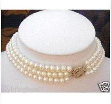 3 Strand 7-8MM White Pearl Choker Necklace(China (Mainland))
