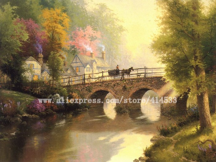 Thomas Kinkade prints original oil painting Hometown Bridge reproduction on canvas Landscape painting Home decor wall art(China (Mainland))