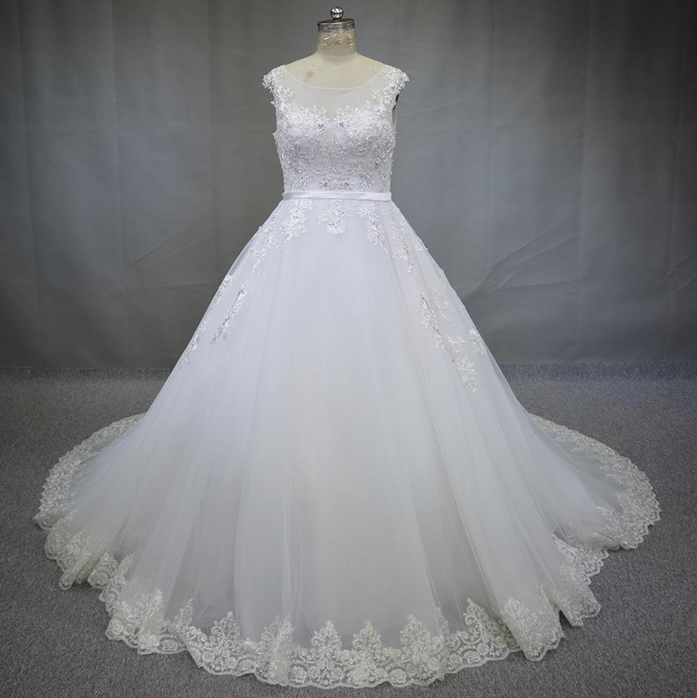 Real Photo Luxury Hand Made Customized Size Sweetheart Beading Crystal Royal train Tulle Wedding Dress 2016 Vestido de noiva(China (Mainland))