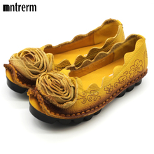 New Women 2016 Genuine Leather Shoes Woman Hand-Sewn Leather Flats Cowhide Flexible Spring Boat Shoes Female retro totem Loafer