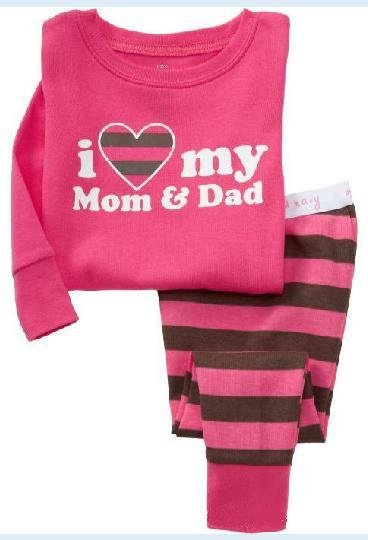 P77, I love my Mom and Dad, 100% Cotton Rib long sleeve T shirt + pant, Baby/Children pajamas/sleepwear/clothing sets for 2-7Y.