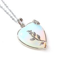 Natural Heart Stone Pendant Chain Necklace Opal Love Necklace Silver Leaf Flower Wire Wrapped Quartz Crystal Pendant For Womens(China (Mainland))