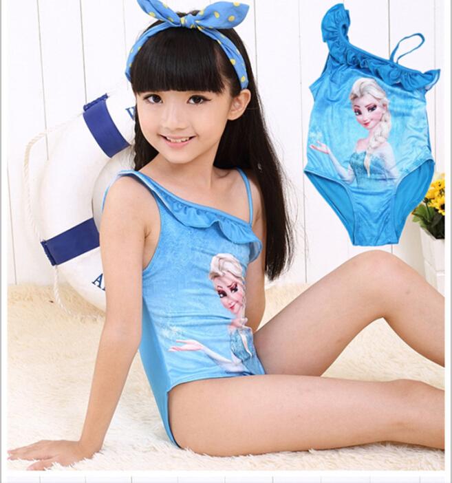 Free shipping 2015 New Elsa Anna girl swimwear cartoon flower fish girl kids swim clothes baby swimsuit summer girls dress(China (Mainland))