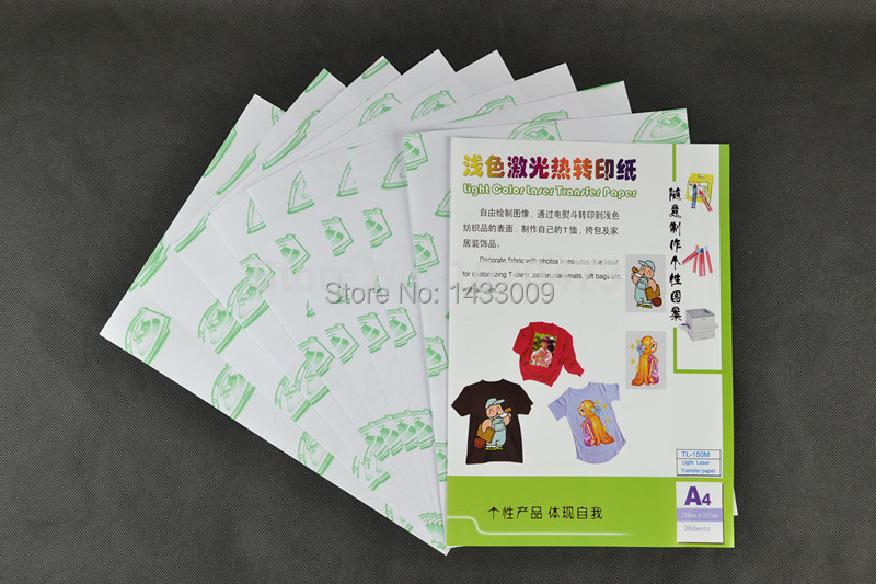 Free Freight 20Sheet*A4 Laser Paper With Heat Press Light t shirt Transfers Paper Papel Print No Need Cutting Hot Transfer Paper(China (Mainland))