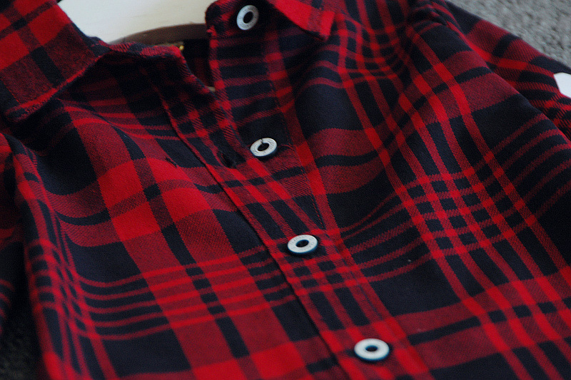 2016 New Autumn Fashion Children Girls Casual Long Sleeves Red Plaid Shirt Blouse Baby Girls Cotton Wild Clothes Thin Coat