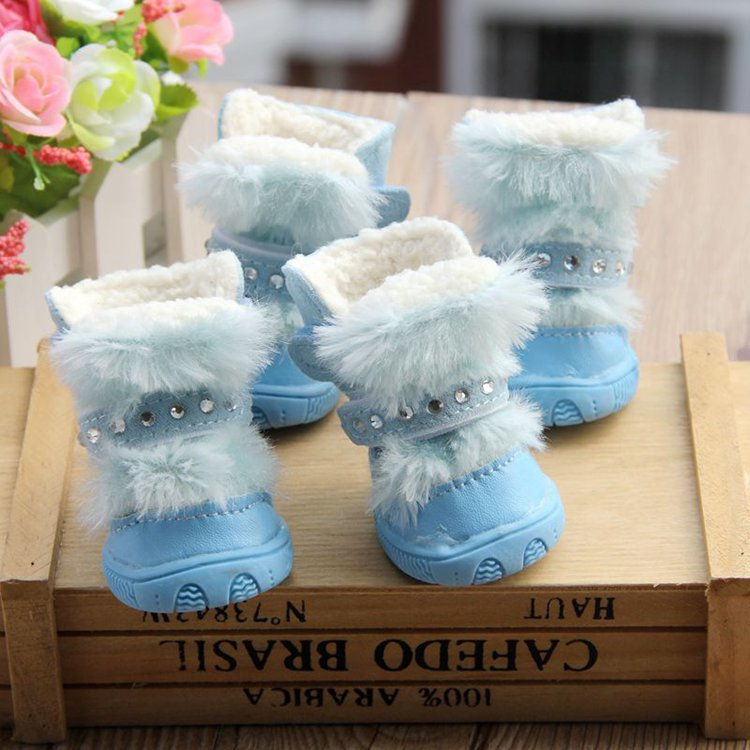 Luxury Fluffy Rhinestone Pet Shoes Dog Puppy Winter Princess Warm Snow Boots Small Dogs - DogBaby store