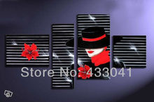 4 Piece Group Modern Abstract Black Dress Hat Red Flower Sexy Red Lips Woman Oil Painting On Canvas Wall Art Home Decoration(China (Mainland))