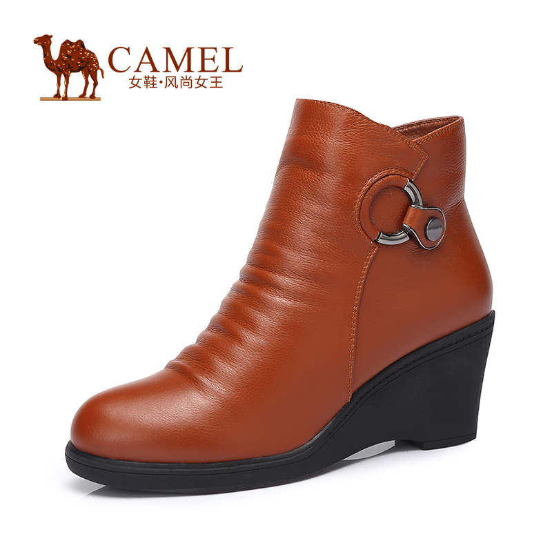 CAMEL women boots Stylish and comfortable high-heeled boots embossed leather zipper new womens boots Wedages A53128610<br><br>Aliexpress