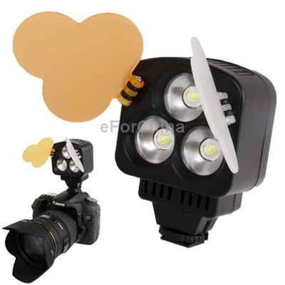 Free Shipping 3 LED Video Light for Camera Video Camcorder with 2 Colors Temperature Transparent Films(China (Mainland))