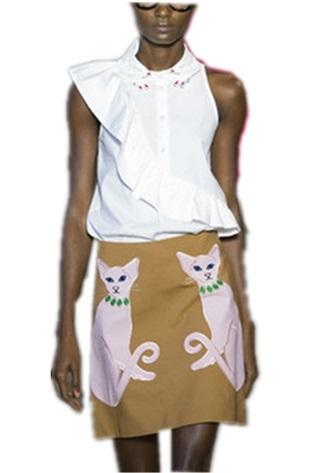 Новые женщины подиум две части установлен рукавов оборками Tshirt топы + кот до колен ...